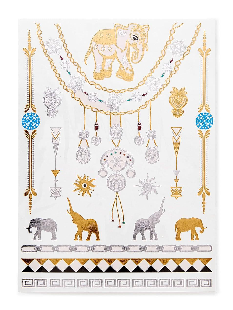 Elephant & Geometric Pattern Tattoo Sticker