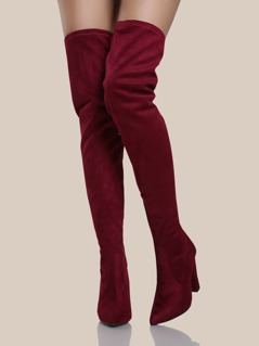 Point Toe Faux Suede Thigh High Boots BURGUNDY