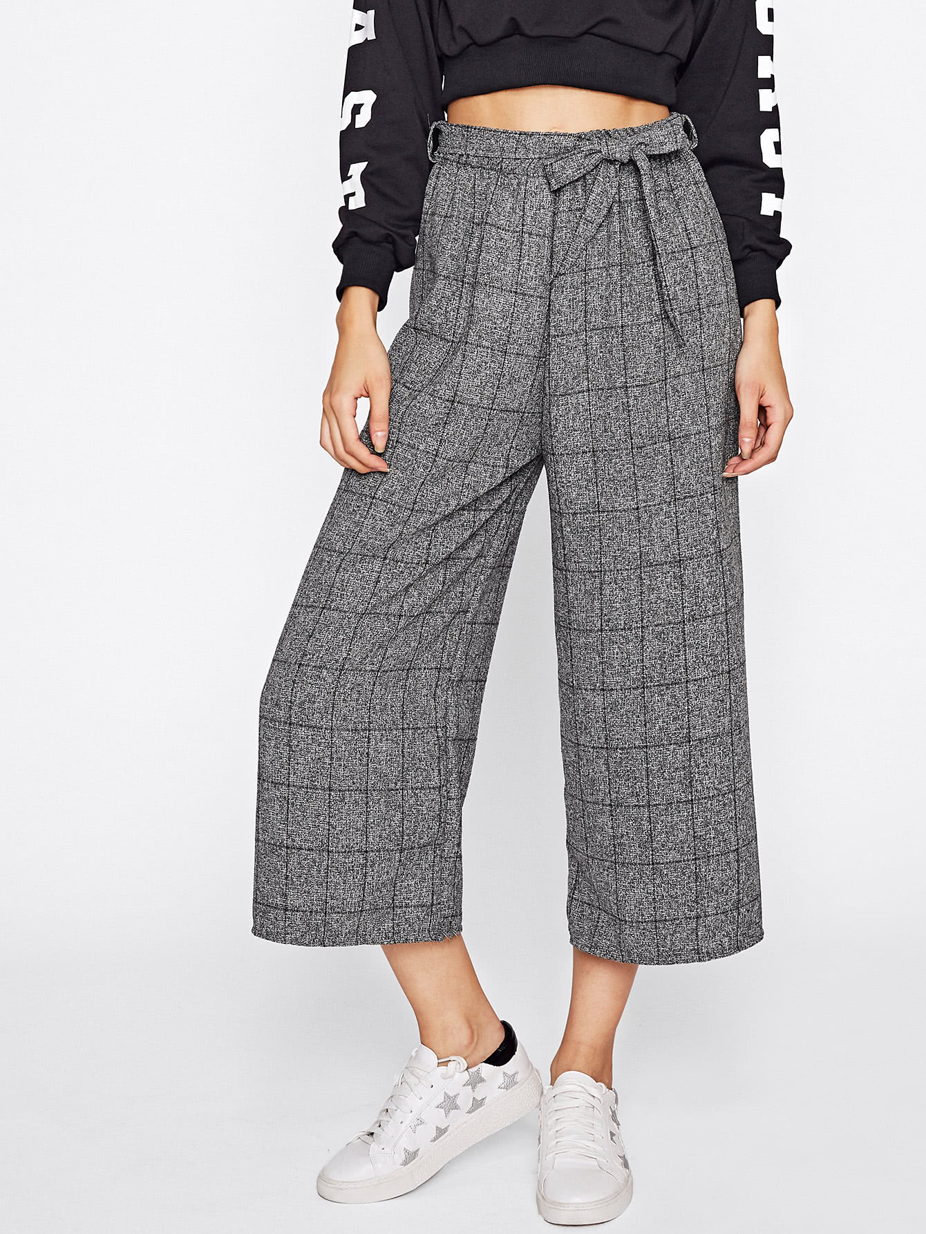 Windowpane Print Tie Waist Wide Leg Pants bow tie side wide leg pants