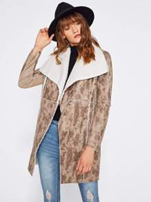 Drape Collar Zip Pocket Faux Shearling Coat