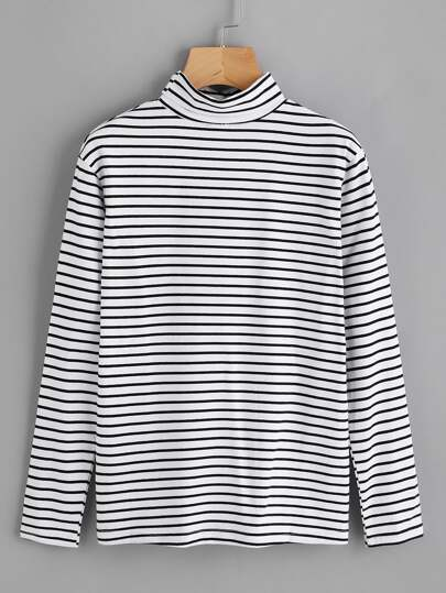 High Neck Striped T-shirt
