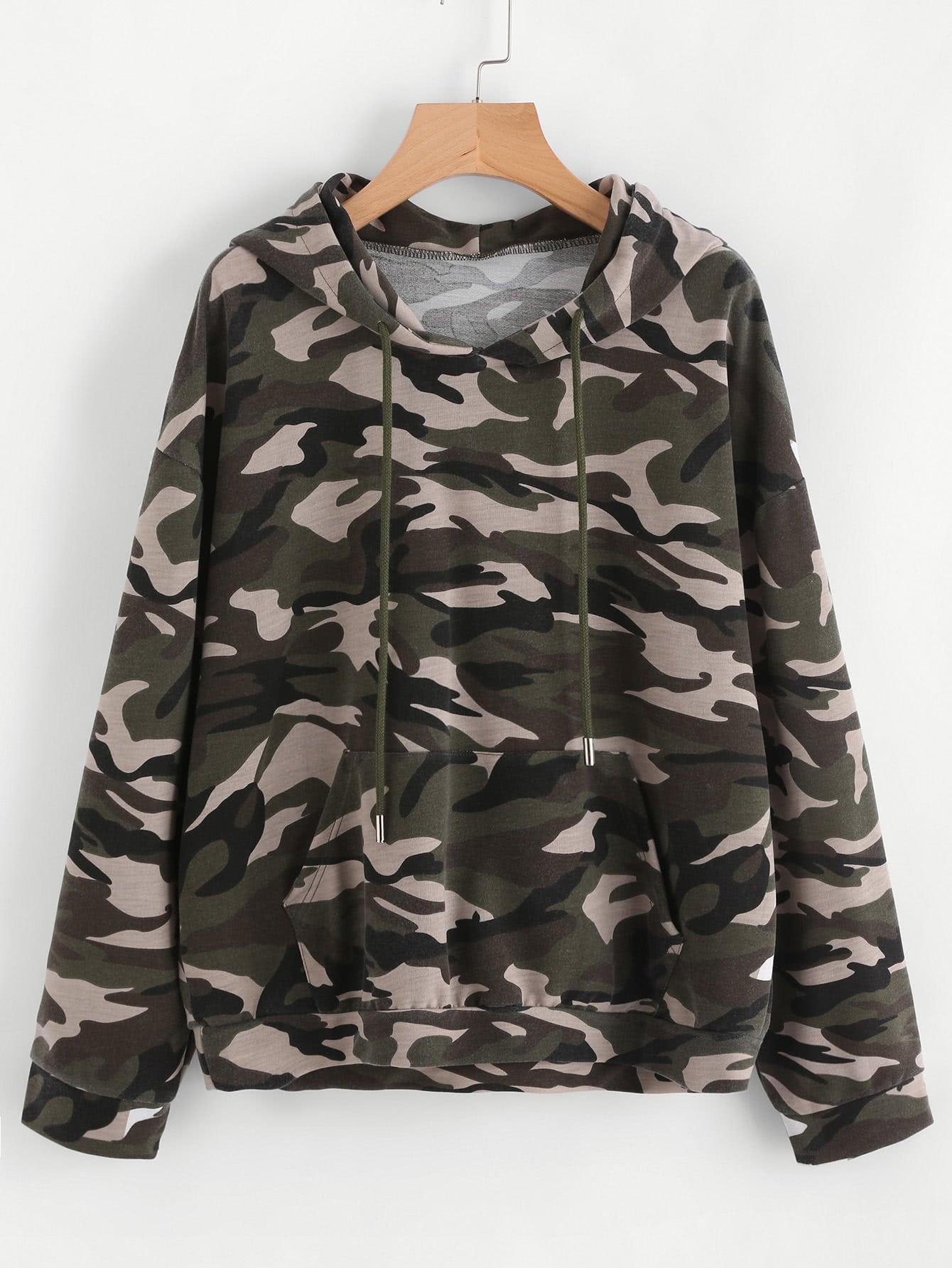 Drop Shoulder Kangaroo Pocket Camo Hoodie two tone drop shoulder sweatshirt