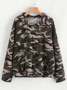 Drop Shoulder Kangaroo Pocket Camo Hoodie