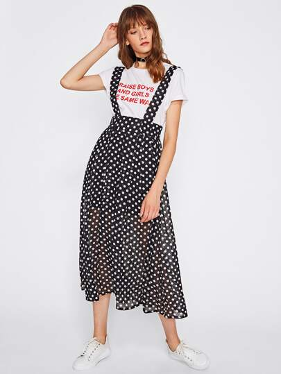 Polka Dot Mesh Strap Dress