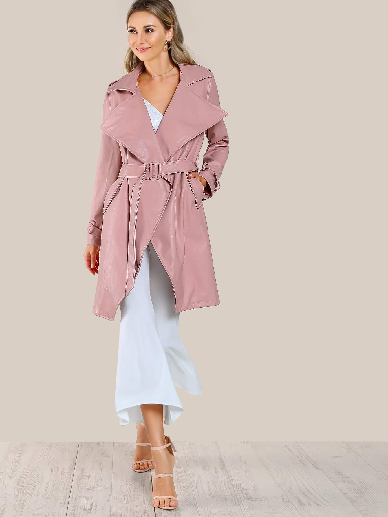 Image of Belted Waist And Cuff Faux Leather Coat
