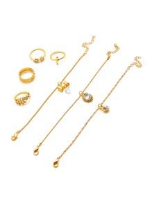 Multi Shaped Delicate Ring & Bracelet Set