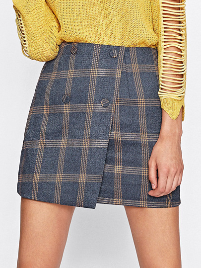 Checked Overlap Skirt
