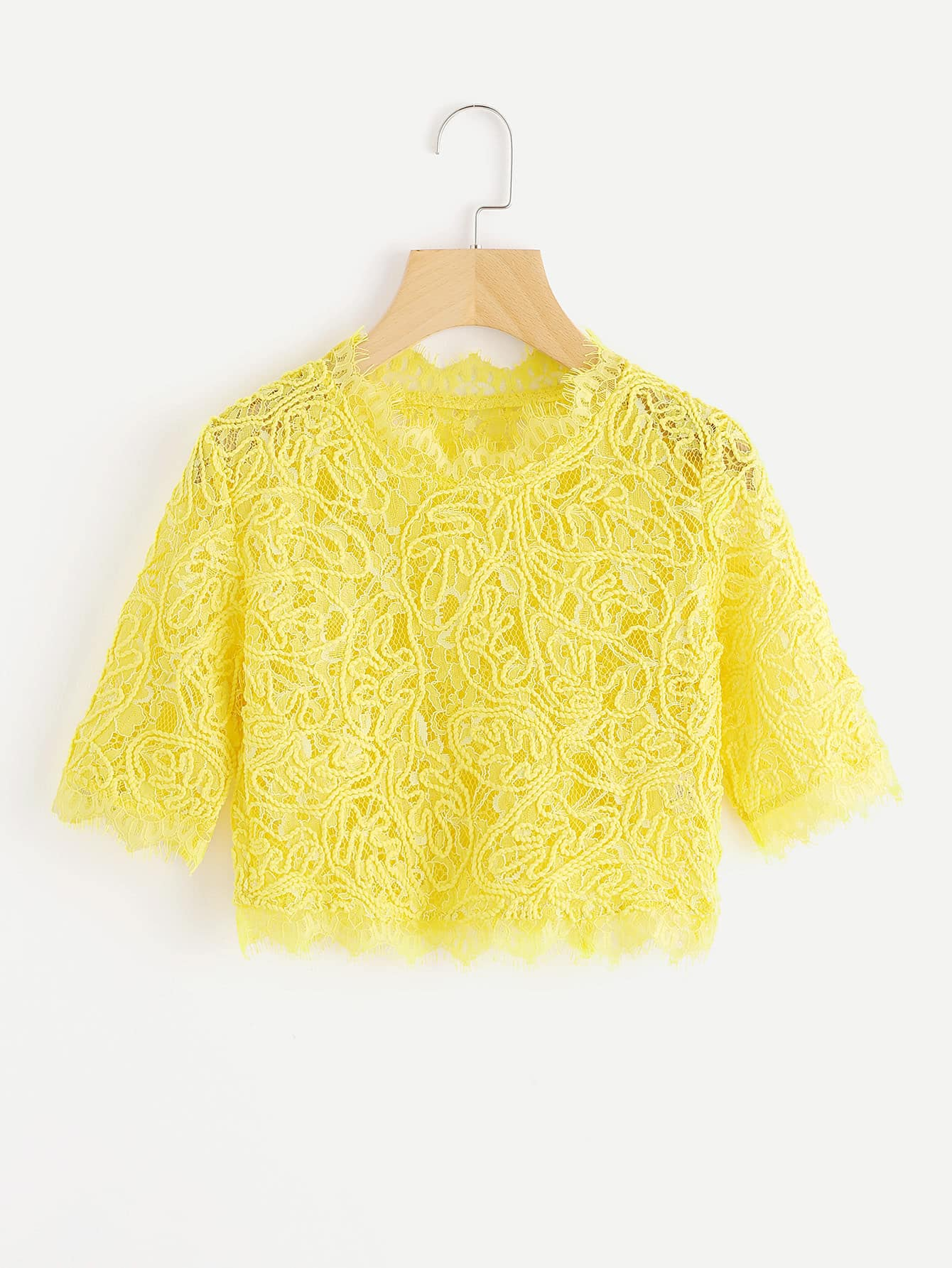 Hollow Out Eyelash Lace Crop Top gold sexy gold thread embroidery hollow out lace crop top