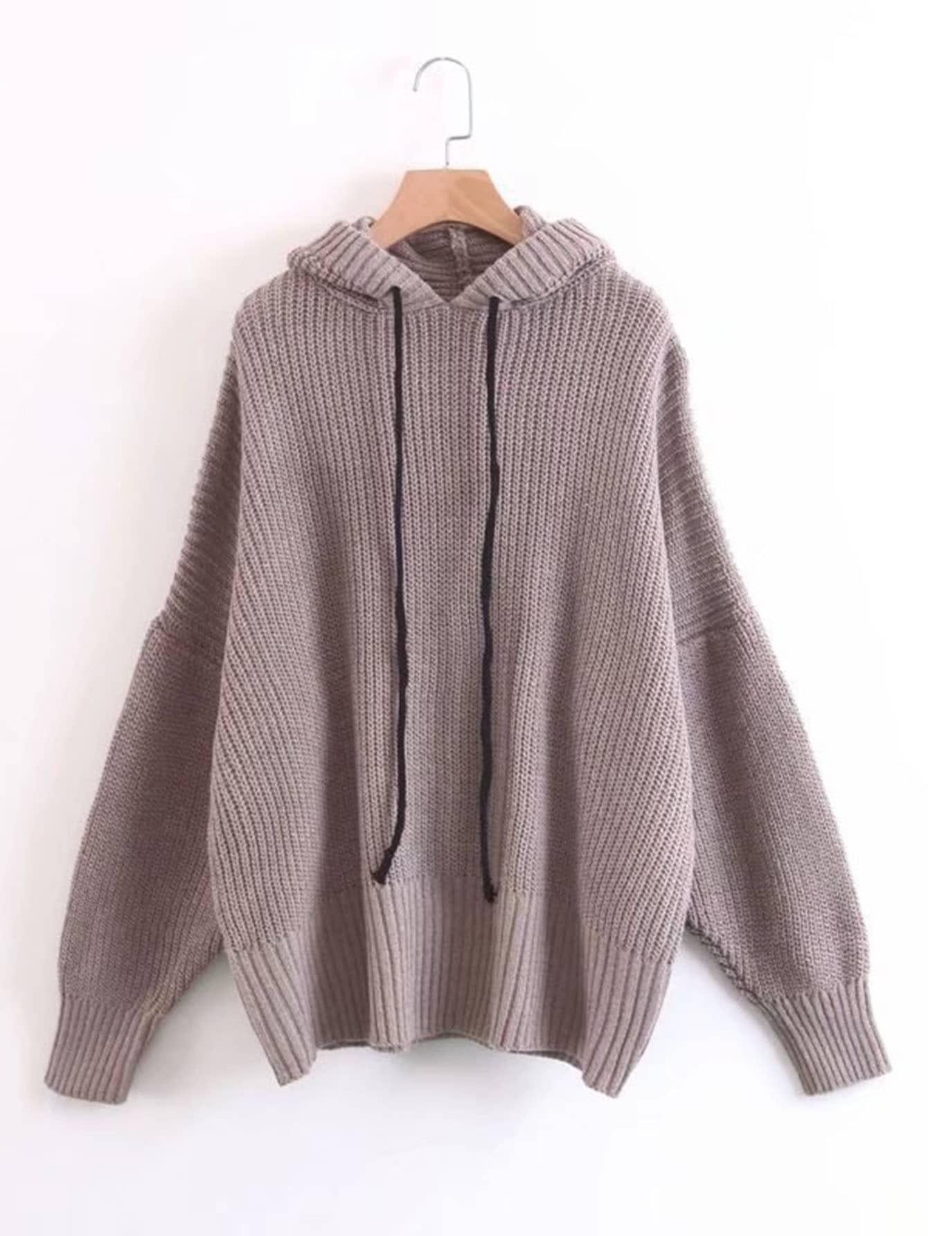 Drop Shoulder Ribbed Knit Hooded Sweater -SheIn(Sheinside)