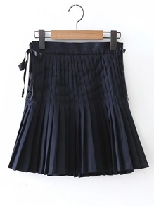Eyelet Lace Up Side Pleated Skirt