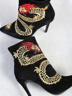 Dragon Embroidered Zip Up Ankle Heel Booties BLACK