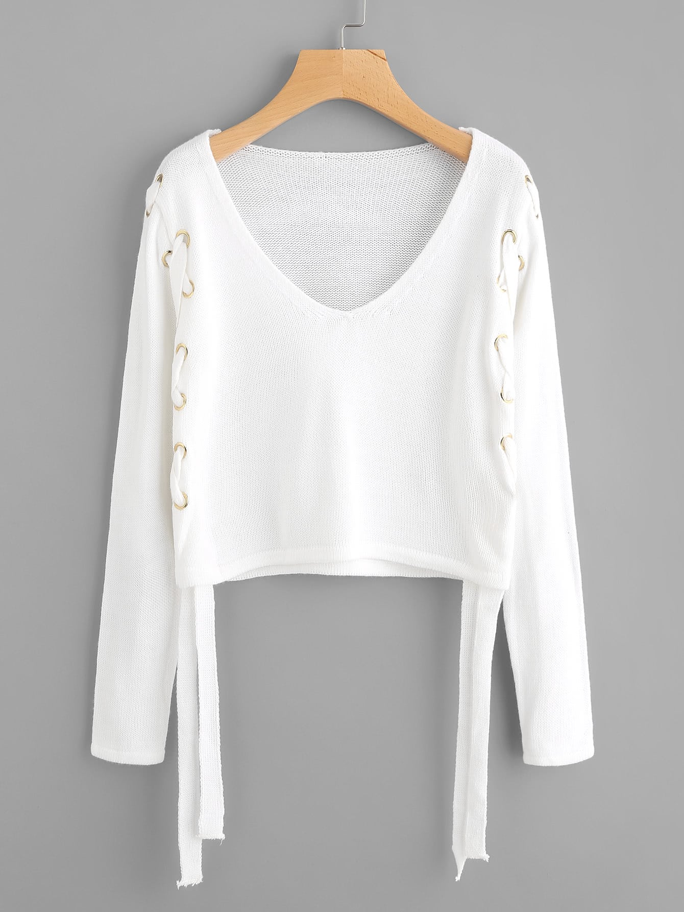 Grommet Lace Up Side Crop Sweater