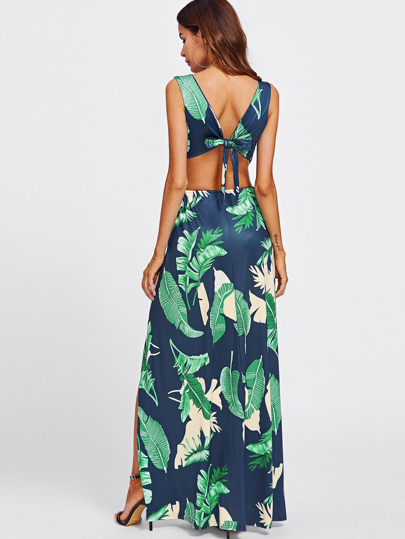 SheIn / Surplice Neckline Open Back M-Slit Jungle Print Dress