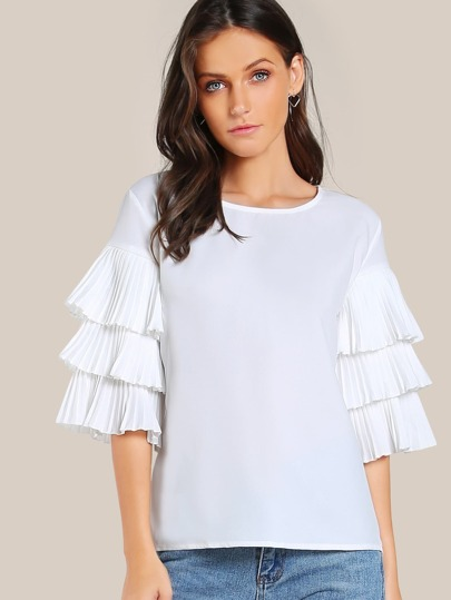 Layered Pleated Sleeve Top WHITE
