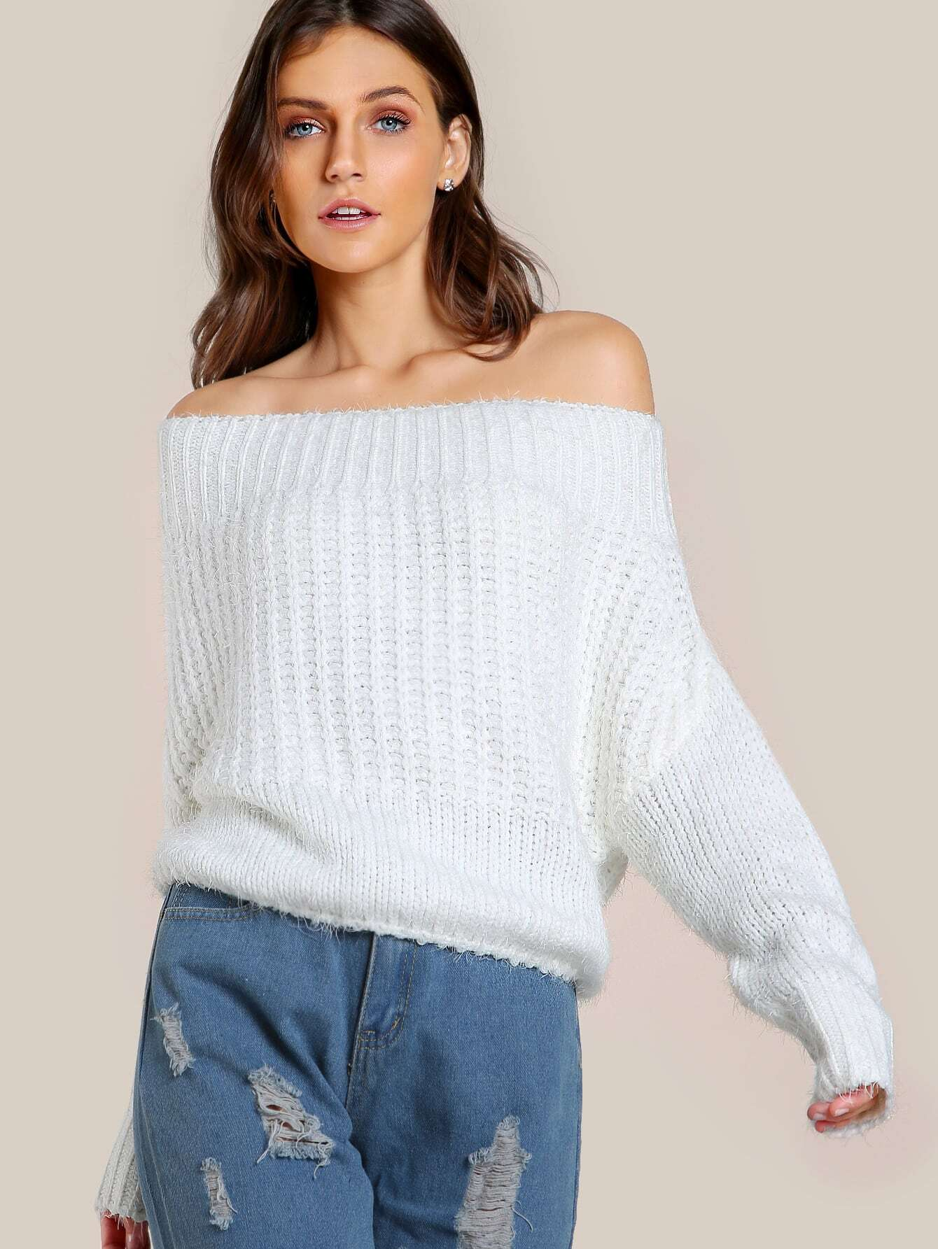 Fuzzy Off Shoulder Sweater WHITE -SheIn(Sheinside)