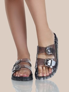 Glitter Jelly Double Buckle Sandals CLEAR