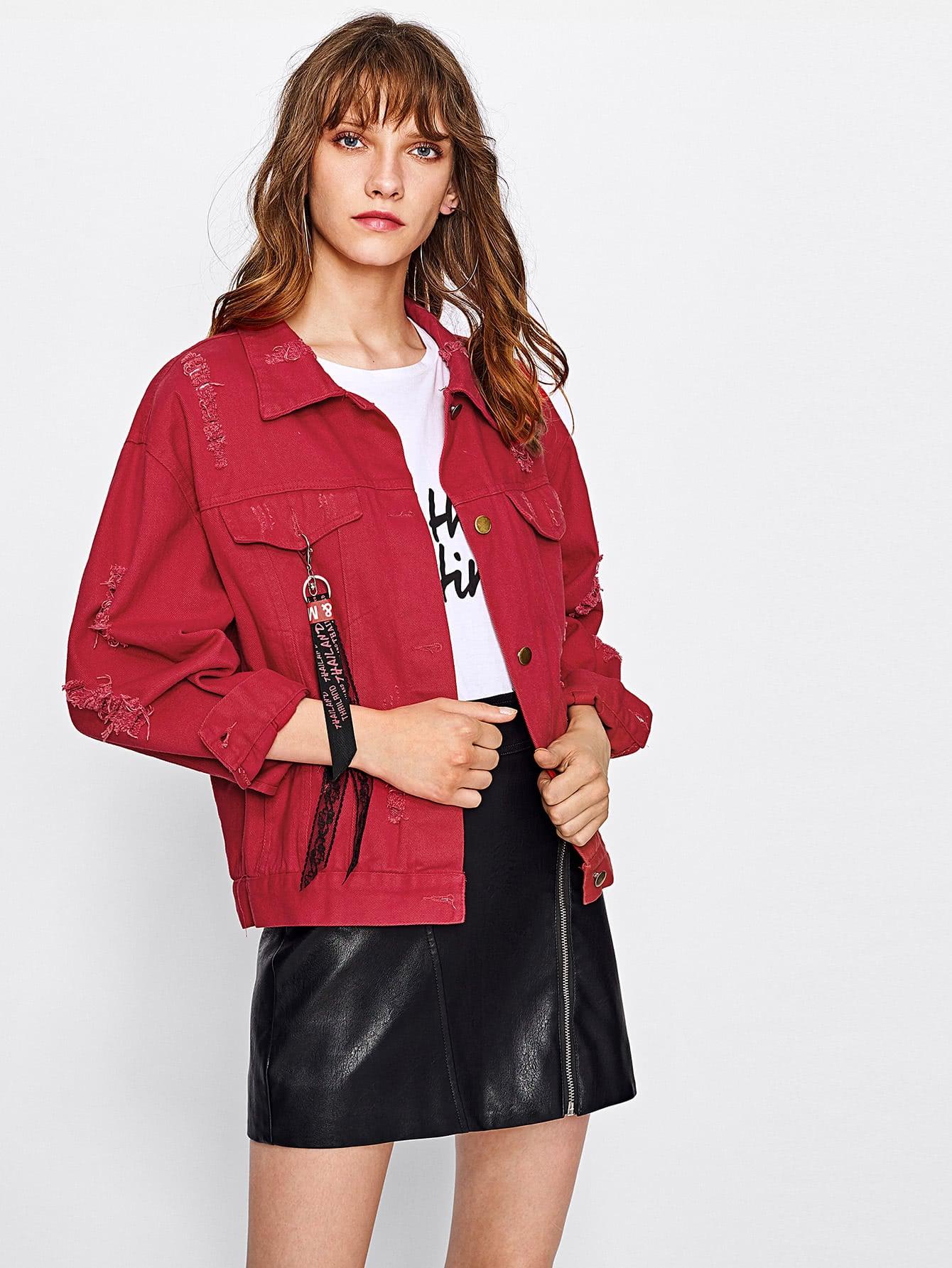 Drop Shoulder Ripped Ribbon Detail Denim Jacket