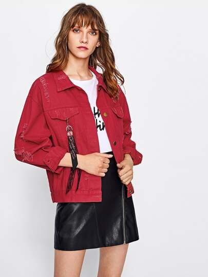 Drop Shoulder Ripped Ribbon Detail Denim Jacket