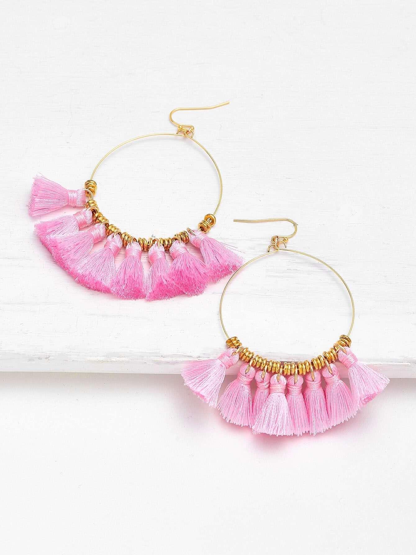 Mini Tassel Hoop Earrings contrast hoop earrings with turquoise