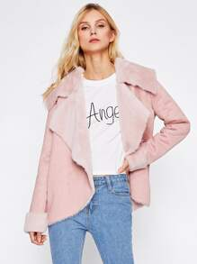 Oversized Collar Curved Faux Shearling Jacket