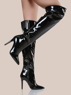 Point Toe Thigh High Stiletto Boots BLACK
