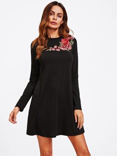 Flower Embroidery Applique Swing Tee Dress