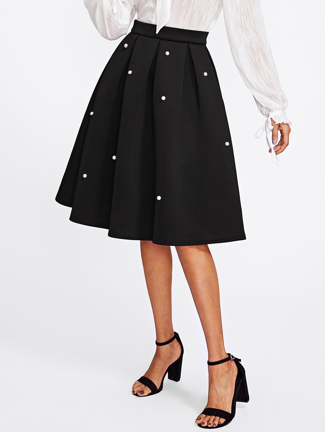 все цены на Pearl Embellished Boxed Pleated Circle Skirt
