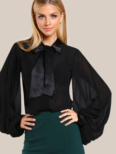 Tie Neck Bishop Sleeve Blouse