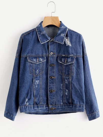 Destroyed Letter Print Back Denim Jacket