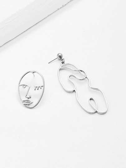 Open Face Drop Mismatched Earrings