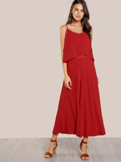Flounce Spaghetti Strap Jumpsuit RED