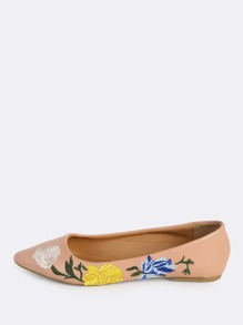 Rose Embroidered Point Toe Flats BLUSH