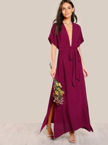 Plunge Neck Open Back Kimono Wrap Dress