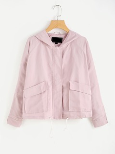 Raglan Sleeve Flap Pocket Front Hooded Jacket