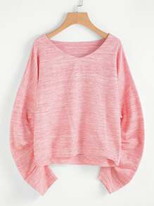 Space Dye Gathered Sleeve Pullover
