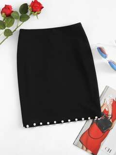 Pearl Beading Hem Pencil Skirt