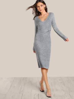 Front Overlay Knit Dress WHITE