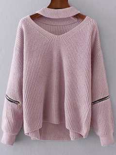 Choker Neck Zip Detail Jumper