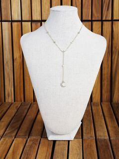Moon & Diamond Lariat Necklace GOLD