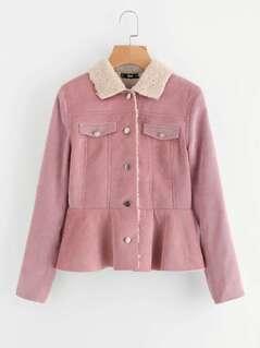 Fleece Lined Ruffle Hem Cord Jacket