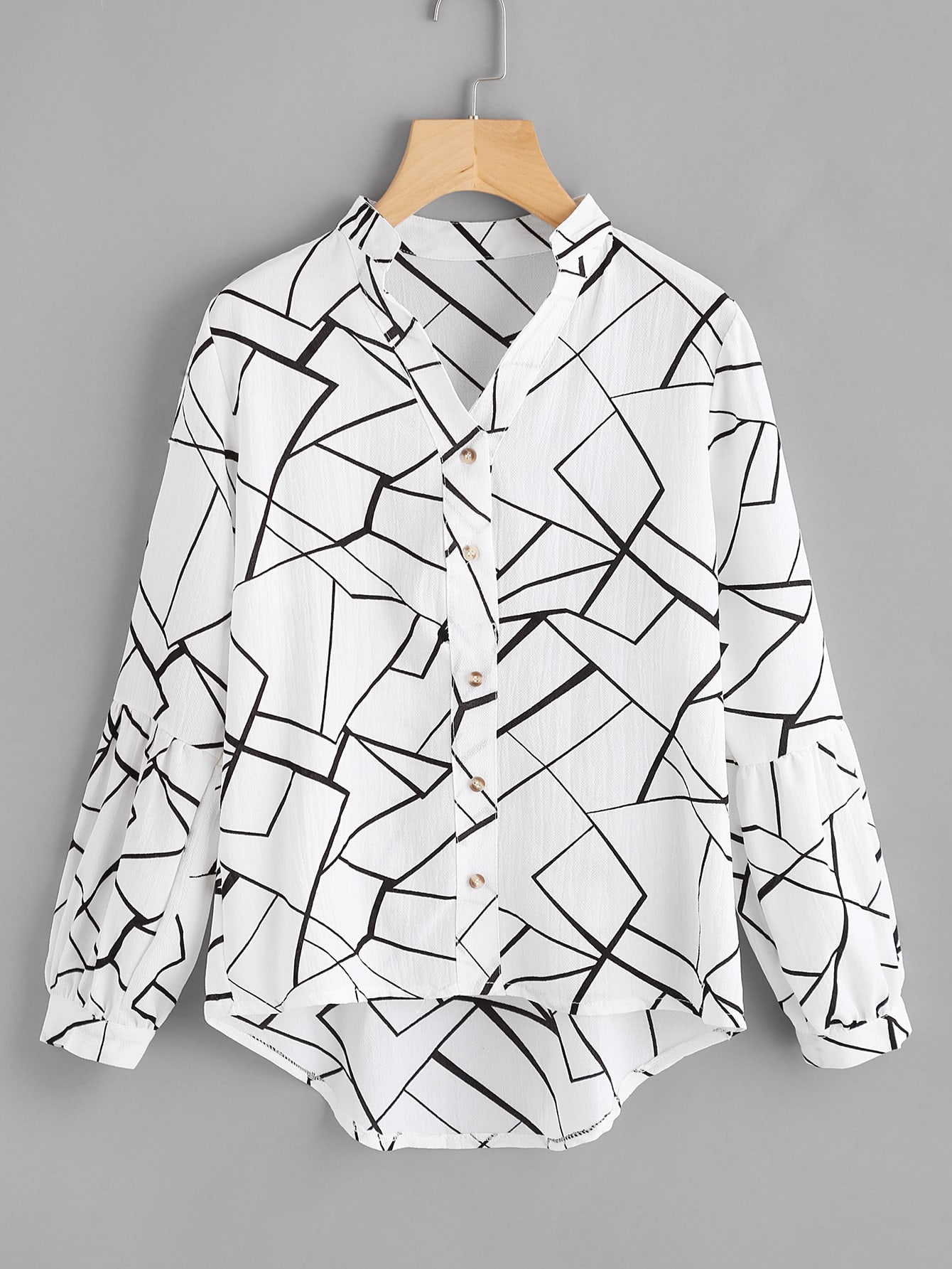Abstract Print Lantern Sleeve Dip Hem Blouse жесткий диск пк western digital wd20ezrz 2tb wd20ezrz
