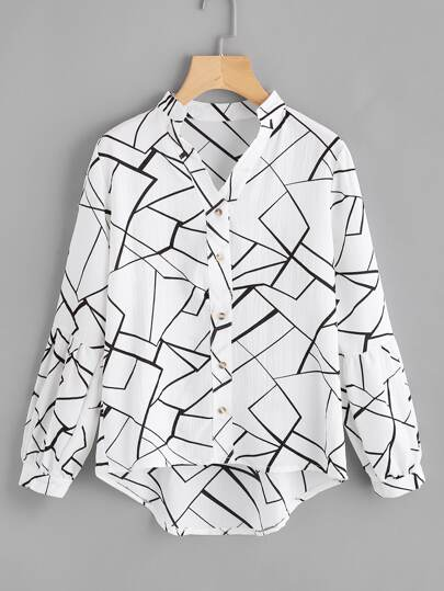 Abstract Print Lantern Sleeve Dip Hem Blouse