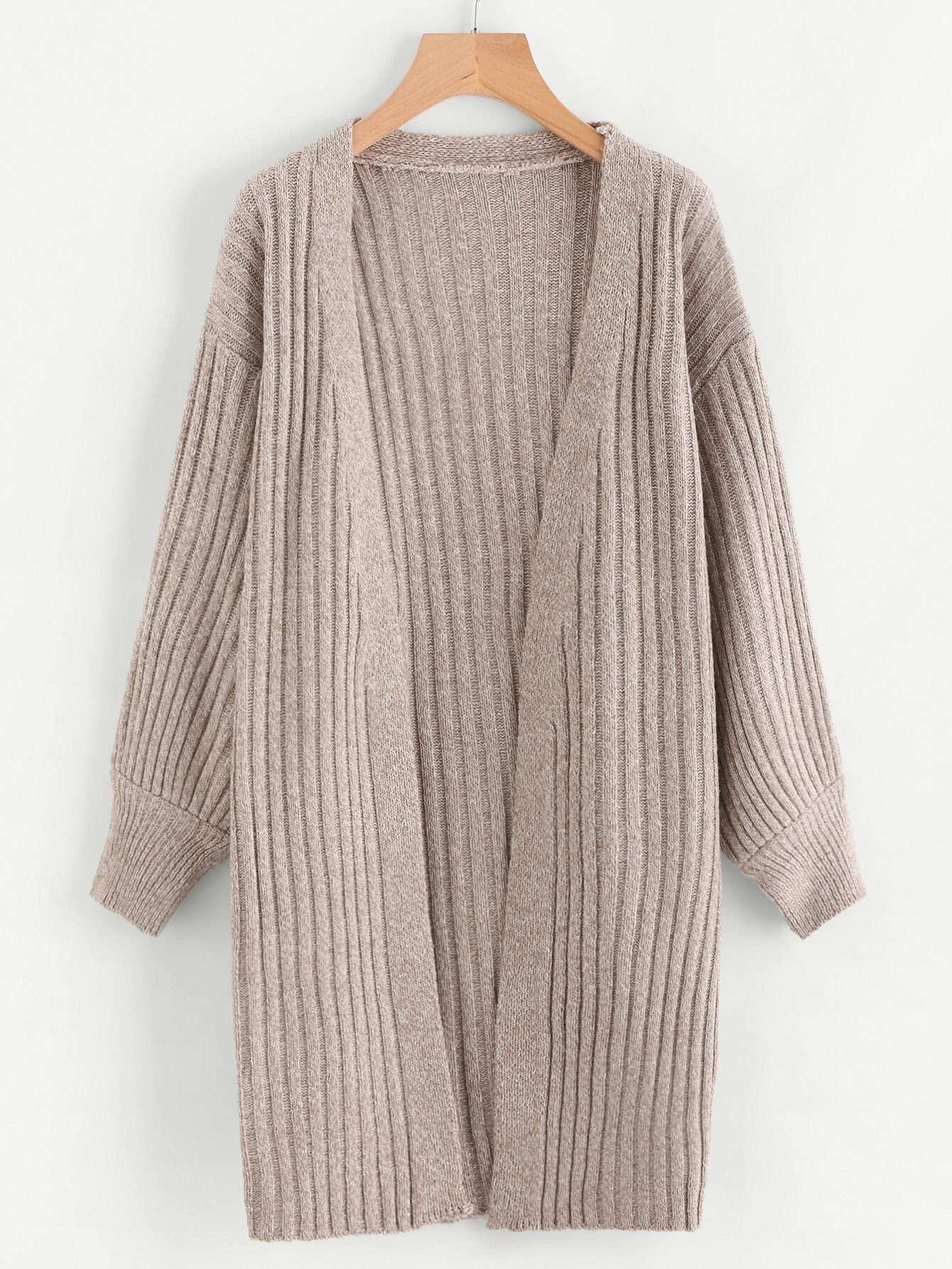 Drop Shoulder Slub Sweater Coat sweater170825104