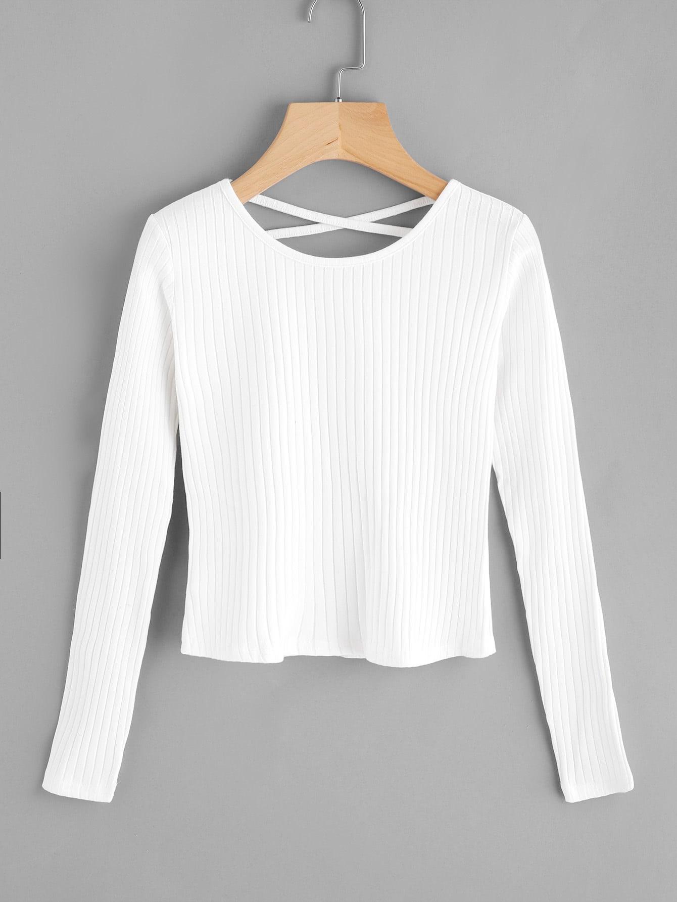 Criss Cross Back Ribbed Sweater RKNI170828122