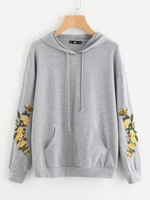 Drop Shoulder Embroidery Sleeve Pocket Front Hoodie