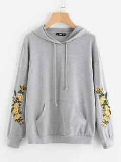 Drop Shoulder Embroidery Sleeve Pocket Front Hoodie
