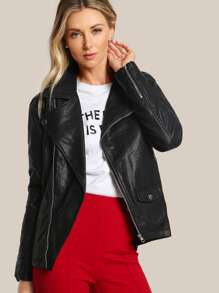 Oversize Faux Leather Moto Jacket BLACK