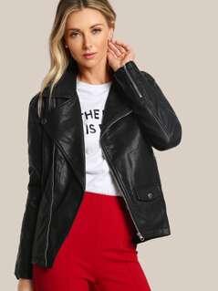 Oversize Faux Leather Moto Jacket BLACK