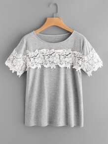 Contrast Crochet Lace Trim Marled Tee