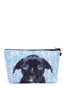 Dog & Clouds Print Cosmetic Bag